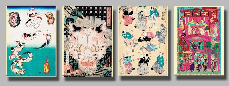 画像1: 浮世絵  クリアファイル  国芳一門おもちゃ絵セット 4種 (1)