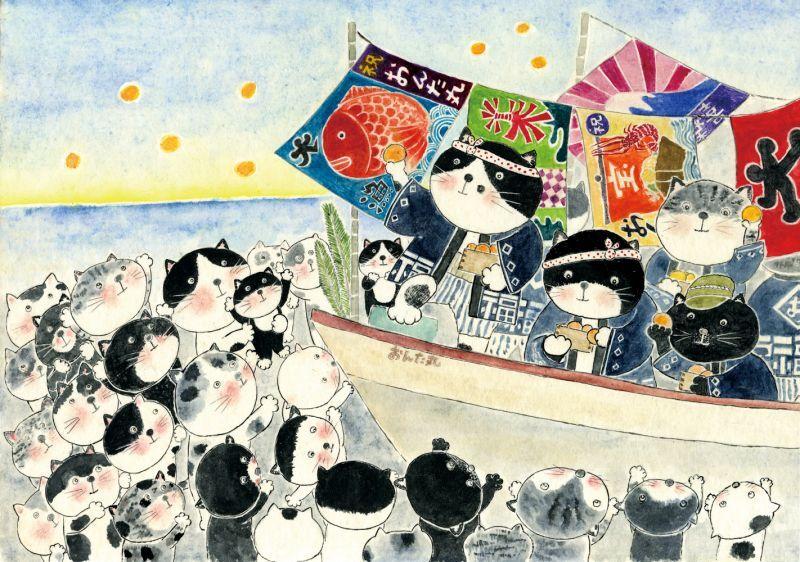 画像1: なつかしこよみ1月原画「船祝い」 (1)