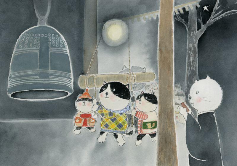 画像1: なつかしこよみ12月原画「除夜の鐘」 (1)