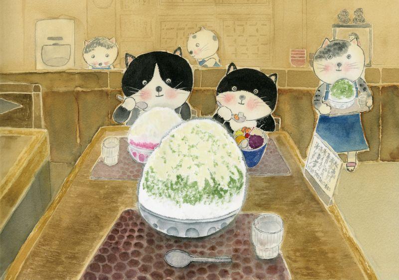 画像1: なつかしこよみ8月原画「かき氷」 (1)