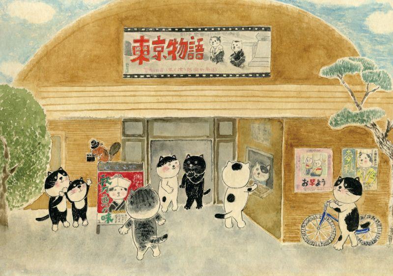 画像1: なつかしこよみ10月原画「映画館」 (1)