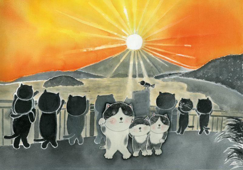 画像1: なつかしこよみ9月原画「夕陽」 (1)